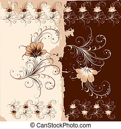 цветочный, шаблон, орнамент