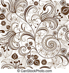 цветочный, шаблон, повторяющий, white-brown