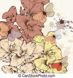 цветочный, шаблон, цветы, чернила