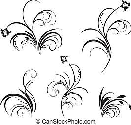цветочный, 5, elements, дизайн