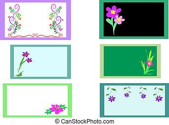 цветочный, cards, шесть, дизайн, вектор