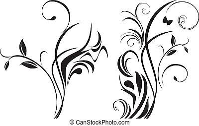 цветочный, elements, дизайн, два