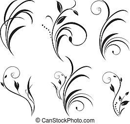 цветочный, sprigs., оформление, elements