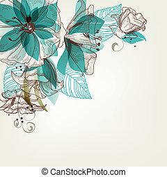 цветы, вектор, ретро, иллюстрация