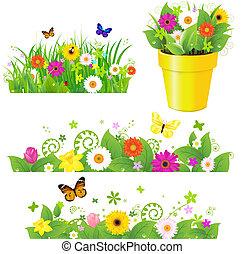 цветы, задавать, трава, зеленый
