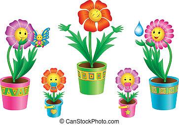 цветы, задавать, pots, мультфильм
