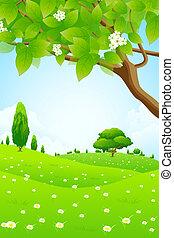 цветы, зеленый, пейзаж