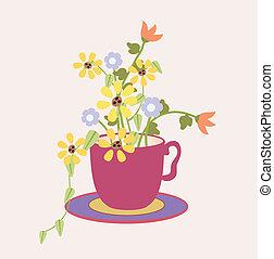 цветы, кружка