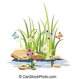 цветы, трава, зеленый, камень