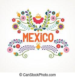 цветы, шаблон, elements, мексика