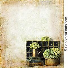 цветы, books, гранж, задний план