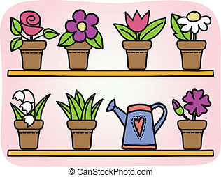 цветы, pots, иллюстрация