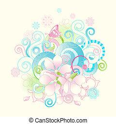 цветы, scrolls, весна, абстрактные