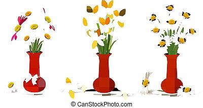 цветы, vases, красочный, весна