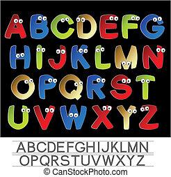 цвет, алфавит, eyes, вектор, шрифт