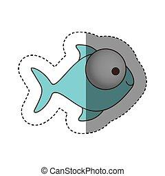 цвет, большой, eyes, рыба, значок