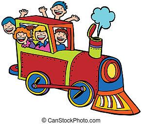 цвет, поездка, поезд, мультфильм