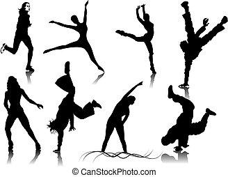 цвет, щелчок, женщины, silhouettes., один, изменение, вектор, фитнес