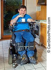 церебральный, человек, инфантильный, паралич, молодой