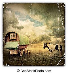 цыганский, вагон, караван