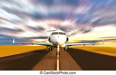 частный, пятно, движение, принятие, реактивный самолет, от, самолет