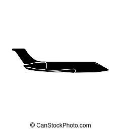 частный, это, черный, самолет, значок