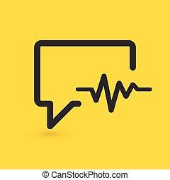 чат, background., вектор, лекарственное средство, кардиограмма, связанный, icon., isolated, желтый, говорящий, иллюстрация, пузырь