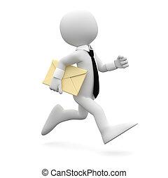 человек, бег, письмо