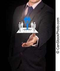человек, бизнесмен, forms, presenting