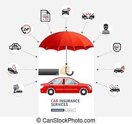 человек, бизнес, зонтик, illustration., защищать, рука, services., страхование, держа, автомобиль, car., красный, вектор