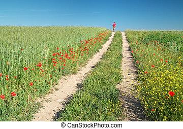 человек, гулять пешком, зеленый, луг
