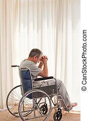 человек, инвалидная коляска, вдумчивый, his