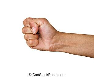человек, кулак, hand., shot., background., студия, женский пол, белый