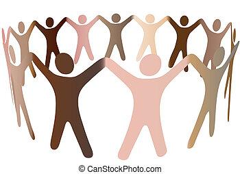 человек, люди, разнообразный, tones, кожа, кольцо, смесь