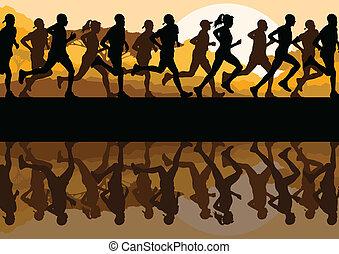 человек, марафон, runners, женщины