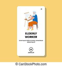 человек, пожилой, вектор, работник, план, здание, дизайн