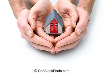 человек, руки, дом