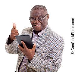 человек, старшая, компьютер, таблетка, африканец