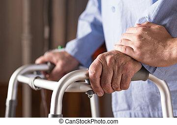 человек, старшая, zimmer, гулять пешком, держа