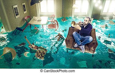 человек, стул, игры, живой, room., труба, плавающий, затопленный, полностью