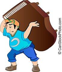 человек, lifting, иллюстрация, пианино
