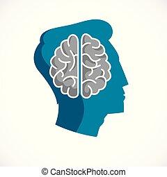 человек, psychotherapy., концепция, умственный, profile, концепция, лицо, внутри, created, анализ, анатомический, головной мозг, вектор, здоровье, человек, логотип, значок, психоанализ, или, психология