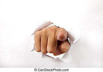 через, бумага, палец, ломать, pointing, рука, вы, белый