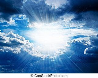 через, breaks, rays, clouds, солнечный свет