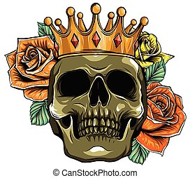 череп, вектор, roses, корона, иллюстрация, смерть, человек