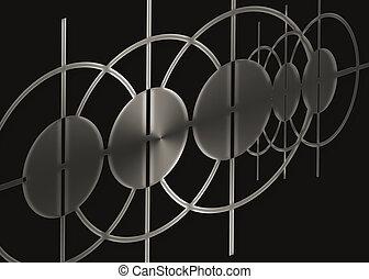 черный, абстрактные, металл, задний план