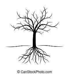 черный, вектор, дерево, illustration., roots.