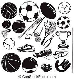 черный, вектор, спорт, мяч, icons