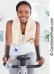 черный, велосипед, упражнение, женщина, сидящий