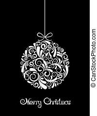 черный, мяч, белый, рождество, background.